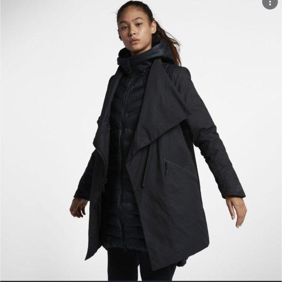 Black Nike Sportswear Women's AeroLoft Zip Front 3-in-1 Parka Shell Size M
